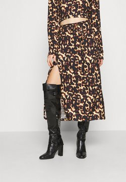Milk it - TORTOISE MIDI WRAP SKIRT THIGH SPLIT - A-Linien-Rock - black