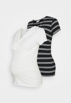 MAMALICIOUS - MLSIA TESS 2 PACK - T-Shirt print - snow white/black