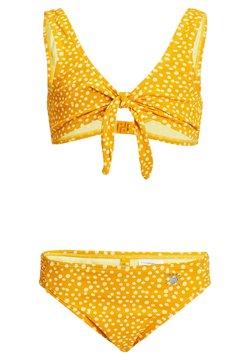 WE Fashion - MET STIPPENDESSIN EN STRUCTUUR - Bikini - mustard yellow