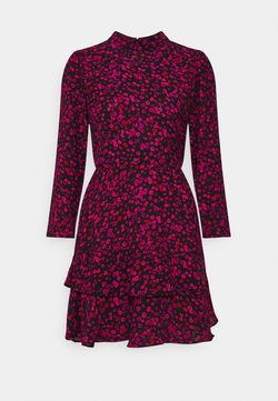 Dorothy Perkins - MINI TIERED HIGH NECK DRESS - Korte jurk - black
