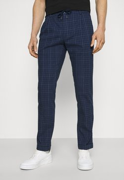 Tommy Hilfiger Tailored - DENTON ACTIVE POW CHECK TURN UP - Stoffhose - desert sky