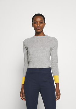 pure cashmere - CLASSIC CREW NECK COLOR BLOCK - Stickad tröja - light grey/yellow