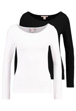 Anna Field Petite - 2PACK  - Camiseta de manga larga - black/white