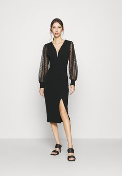 WAL G. - ROSE LONG SLEEVE MIDI DRESS - Shift dress - black