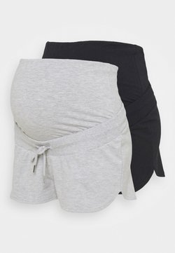 Anna Field MAMA - 2 PACK - Shorts - black/mottled light grey