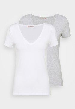Anna Field - 2 PACK - T-Shirt basic - white/mottled light grey