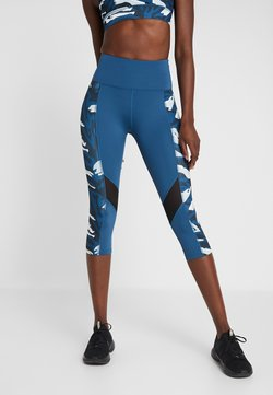 Wolf & Whistle - ABSTRACT PRINT PANEL CROPPED LEGGINGS - 3/4 Sporthose - blue