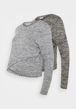 Cotton On - CROSS OVER FRONT LONG SLEEVE 2 PACK - Neule - black/greys twist