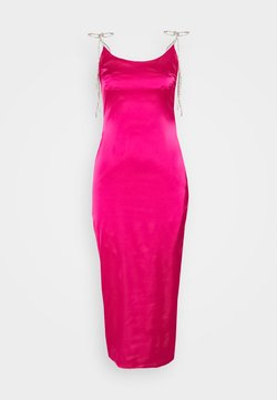 Missguided Tall - DIAMANTE TIE STRAP MIDI DRESS - Cocktailklänning - hot pink