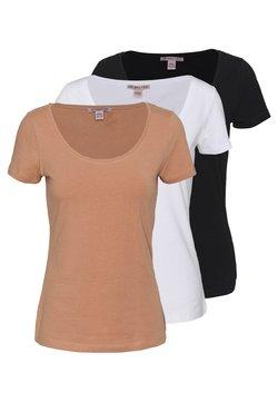 Anna Field - 3 PACK - Basic T-shirt - white/camel/black