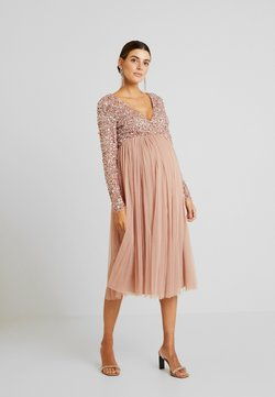 Maya Deluxe Maternity - LONG SLEEVE WRAP MIDI DRESS WITH DELICATE SEQUIN EMBELLISHMENT - Cocktailkleid/festliches Kleid - pale mauve