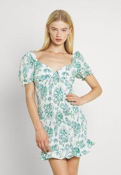 Glamorous - SMOCKED MINI DRESS WITH PUFF SHORT SLEEVES - Freizeitkleid - green