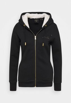 Superdry - ESTABLISHED ZIP HOOD - Sweatjacke - black