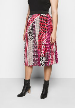 CAPSULE by Simply Be - PRINT PLEAT MIDI SKIRT - Faltenrock - pink/black