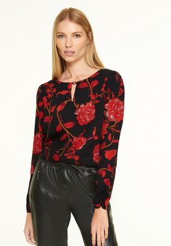 comma - Bluse - black red roses