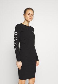 DKNY - LONG SLEEVE CREW NECK DRESS - Robe en jersey - black