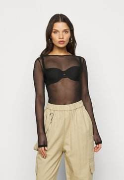 Missguided Petite - CREW NECK BODYSUIT - Langarmshirt - black