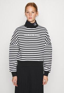 Calvin Klein Jeans - STRIPE ROLL NECK - Sweatshirt - black/bright white