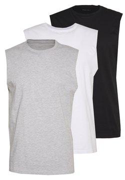 Pier One - 3 PACK - T-shirt basic - grey/white/black