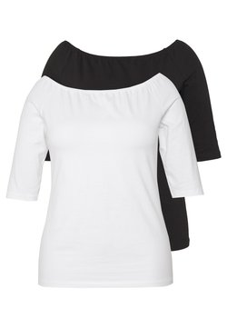 Even&Odd Curvy - 2 PACK - T-Shirt basic - white/black