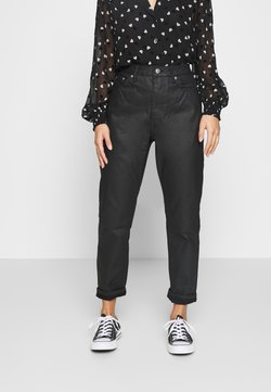 Topshop Petite - COATED MOM - Relaxed fit jeans - black