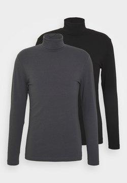 Pier One - 2 PACK - Langærmede T-shirts - grey/black