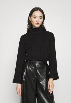Even&Odd - CROPPED- WIDE RIB JUMPER - Neule - black