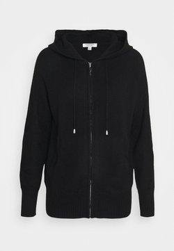 Marks & Spencer London - ZIP HOODY - Stickad tröja - black