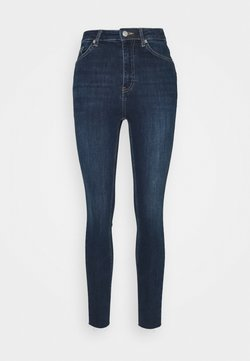 NA-KD - HIGH WAIST RAW HEM - Jeans Skinny Fit - dark blue