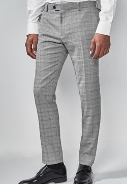 Next - LIGHT GREY SKINNY FIT CHECK SUIT TROUSERS - Anzughose - grey
