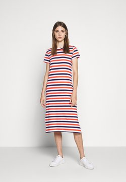J.CREW - MIDI DRESS IN STRIPE - Jerseykleid - cherry/dosido/navy/red