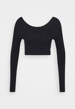 Cotton On Body - LIFESTYLE SEAMLESS LONG SLEEVE CROP - Pitkähihainen paita - black