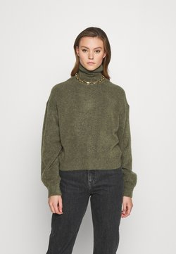 Weekday - AGGIE TURTLENECK - Strickpullover - olive green melange