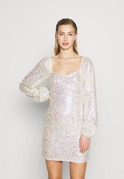 Glamorous - MINI DRESS WITH PUFF LONG SLEEVES - Juhlamekko - gold/pink