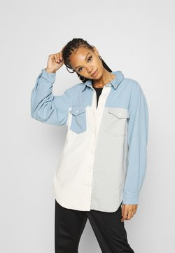 Missguided - SPLICED MIX OVERSIZED - Camicia - blue