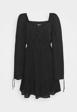 Missguided - SHEER CHECK CUT OUT SKATER DRESS - Freizeitkleid - black