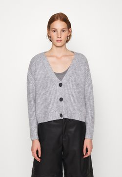 Zign - CROPPED CHUNKY CARDIGAN - Vest - mottled light grey