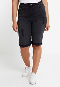 New Look Curves - KNEE - Farkkushortsit - black