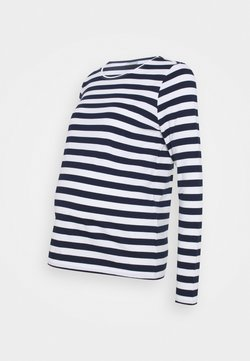 Pieces Maternity - PCMRIA NEW TEE - Langarmshirt - bright white/maritime blue