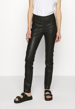 Cream - MIRA PANTS - Leather trousers - pitch black