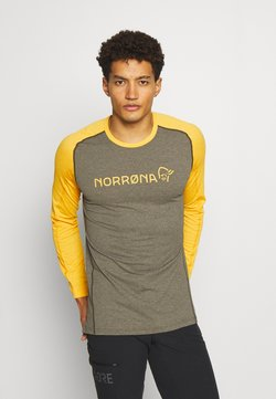 Norrøna - FJØRÅ EQUALISER LIGHTWEIGHT LONG SLEEVE - Langarmshirt - olive night/lemon chrome