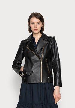 Tommy Hilfiger - ICON LEATHER OVERSIZED BIKER  - Leather jacket - black