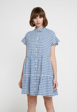 Madewell - CENTRAL RUFFLE SLEEVE DRESS IN LOGAN GINGHAM - Vestido camisero - blue