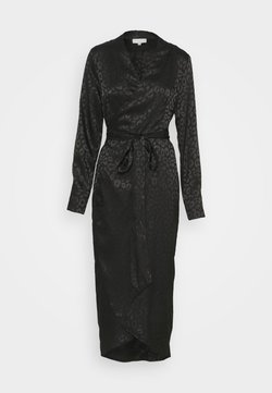 Never Fully Dressed - LEOPARD LONGSLEEVE WRAP DRESS - Cocktailjurk - black