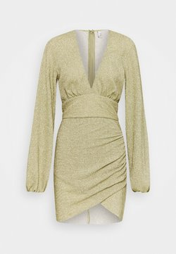 Nly by Nelly - VOLUME SLEEVE PLEATED DRESS - Vestito elegante - gold