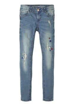 TOM TAILOR - MIT STRASSSTEINEN - Slim fit jeans - blue denim/blue