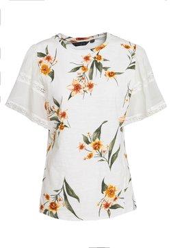 Dorothy Perkins - CONTRAST SLEEVE PRINTED TEE - Print T-shirt - white