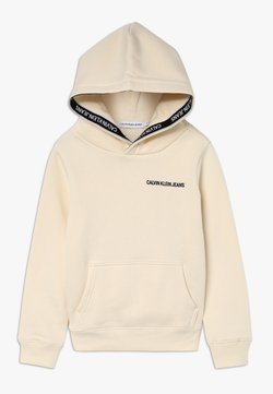 Calvin Klein Jeans - LOGO TAPE HOODIE - Bluza z kapturem - beige