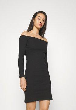 Even&Odd - BASIC - Ribbed casual off shoulder long sleeves mini dress - Etuikleid - black