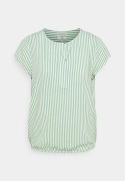 TOM TAILOR - WITH FEMININE NECKLINE - Bluse - green/white